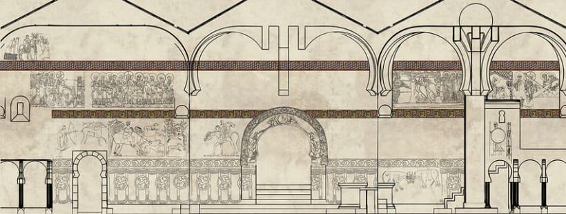 Reconstrucción pictórica de la Ermita de San Baudelio en Berlanga de Duero, Soria. 0
