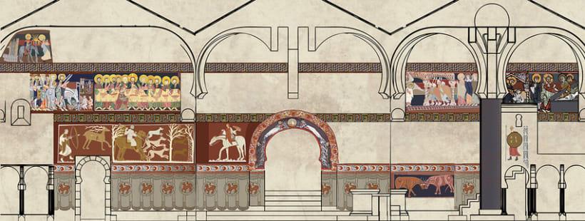 Reconstrucción pictórica de la Ermita de San Baudelio en Berlanga de Duero, Soria. 1