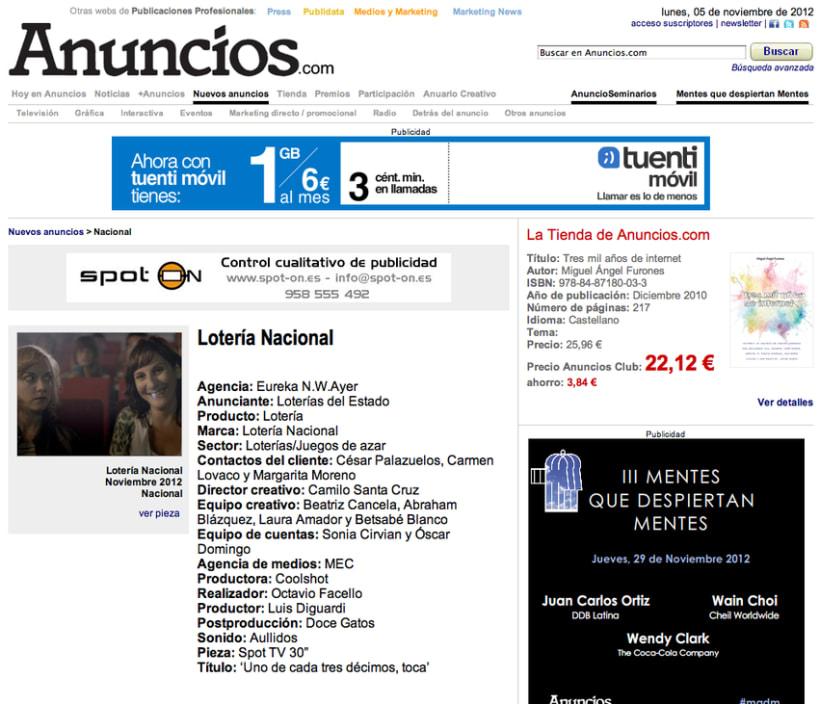 """Spot 30"""" Lotería Nacional 2012/2013 (1 de cada 3, toca). 0"""