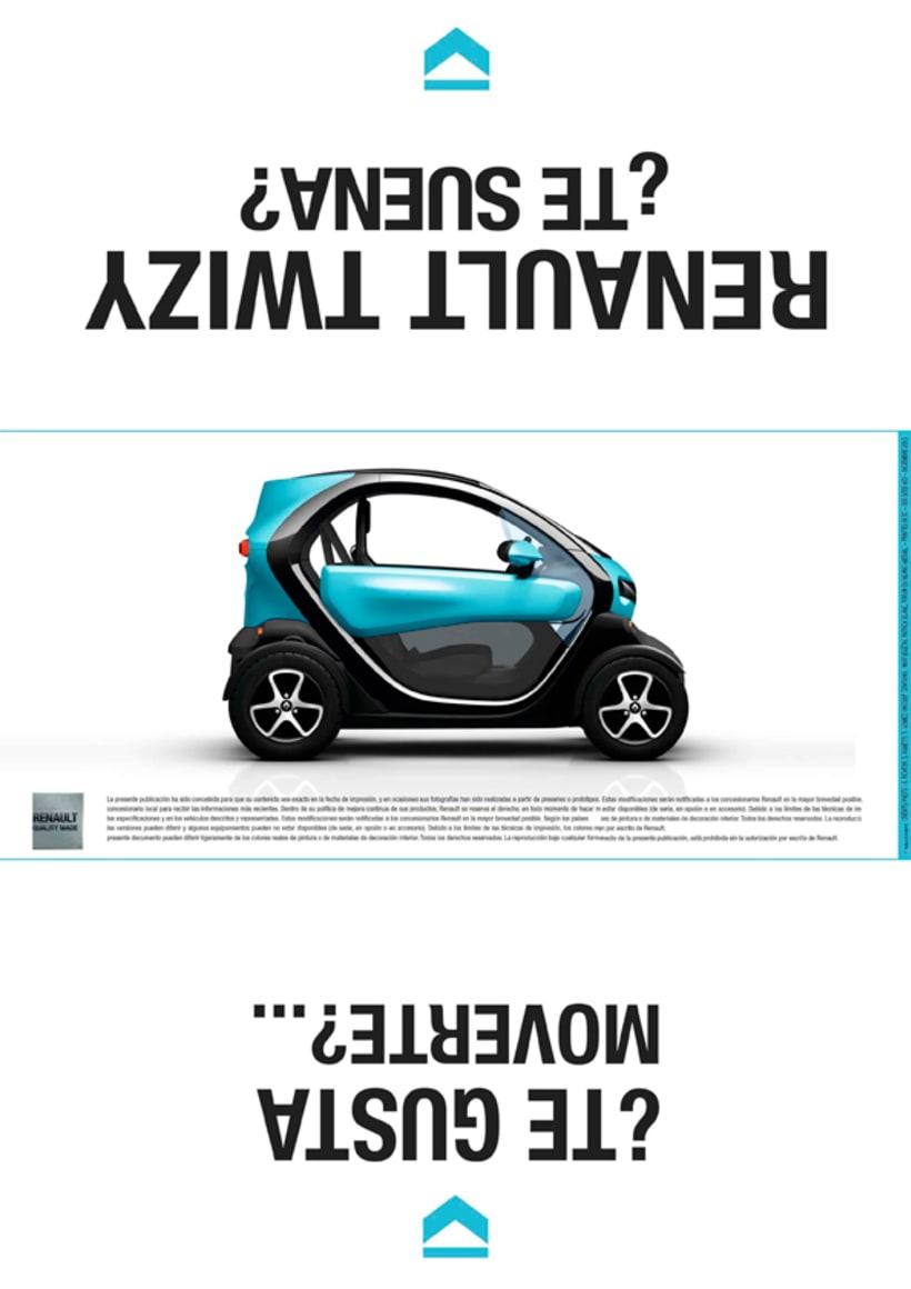 Renault Twizy. Folleto, realizado en el Máster de diseño gráfico en Aula Creactiva 0
