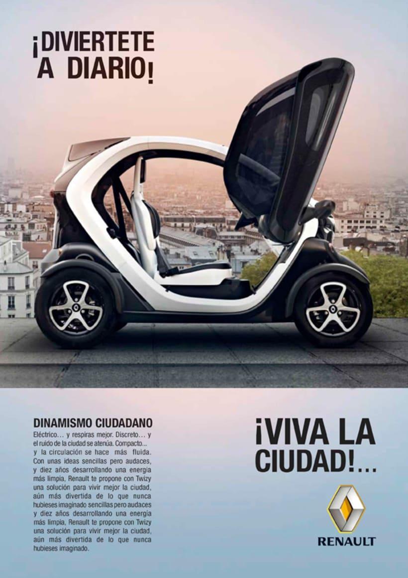 Renault Twizy. Folleto, realizado en el Máster de diseño gráfico en Aula Creactiva 1