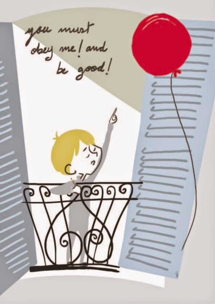 """Ilustrando el  cortometraje """"Le ballon rouge"""" 1956 -1"""