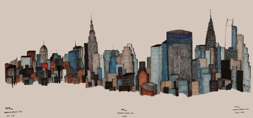 New York  Three Bridges Cartoon View 0