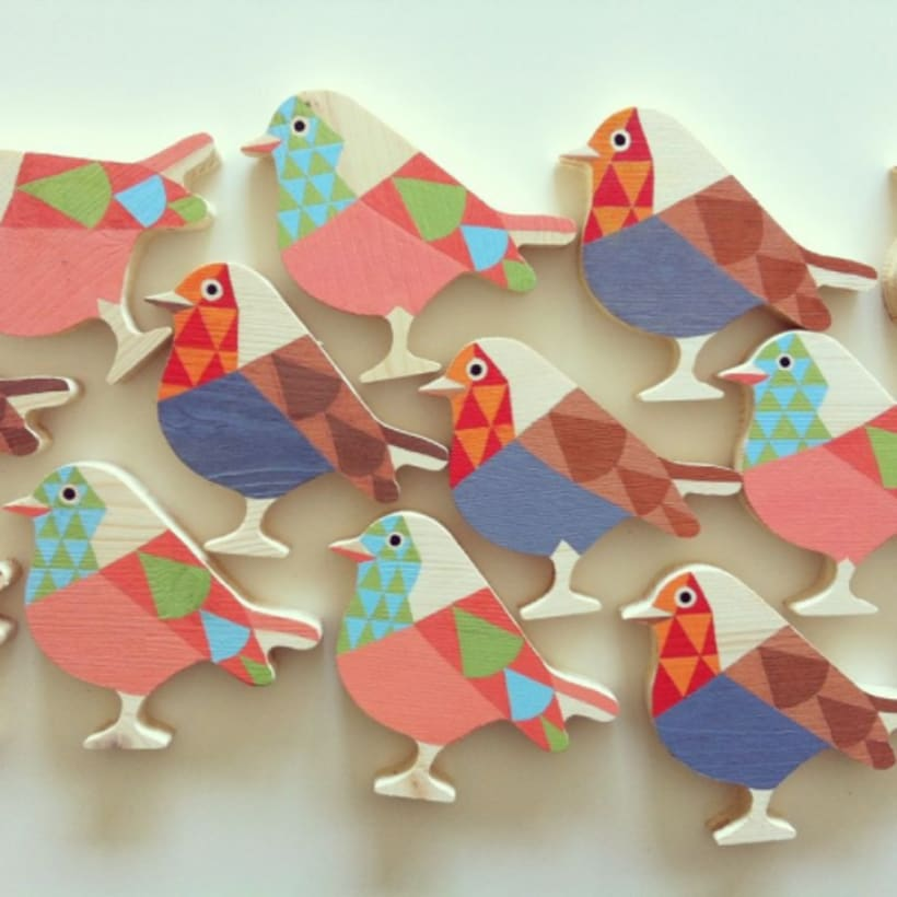 Ocells de fusta pintats a mà -1