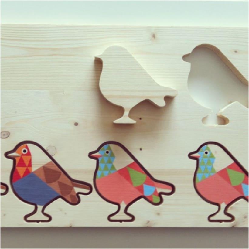 Ocells de fusta pintats a mà 0