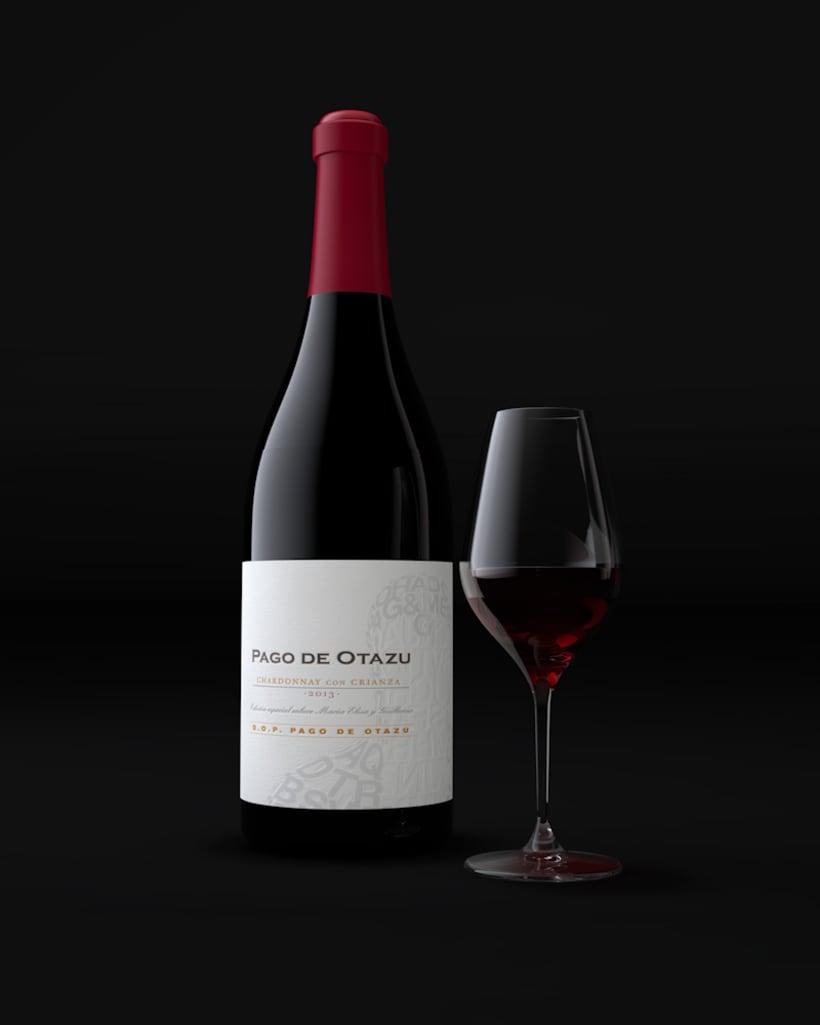 Diseño Etiquetas Vino Otazu & Infografías 3D 1