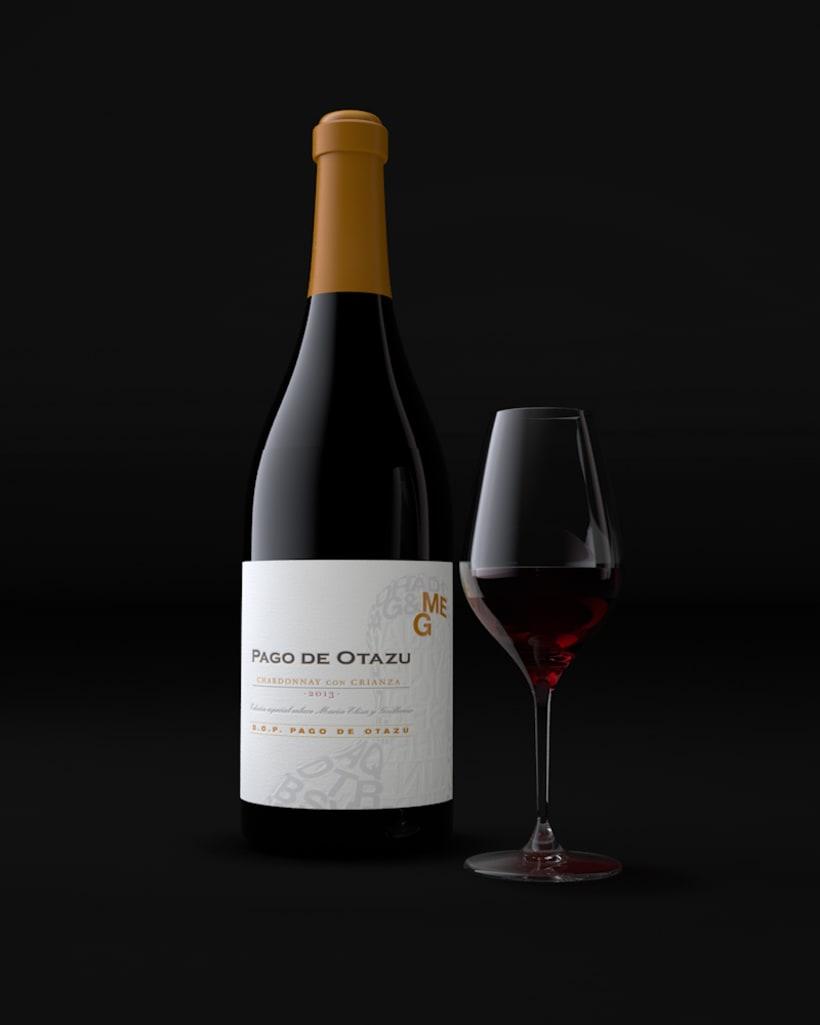 Diseño Etiquetas Vino Otazu & Infografías 3D 3