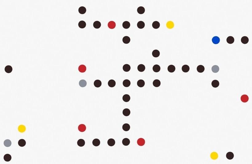 Composición  en rojo, azul, gris, amarillo y negro I 0