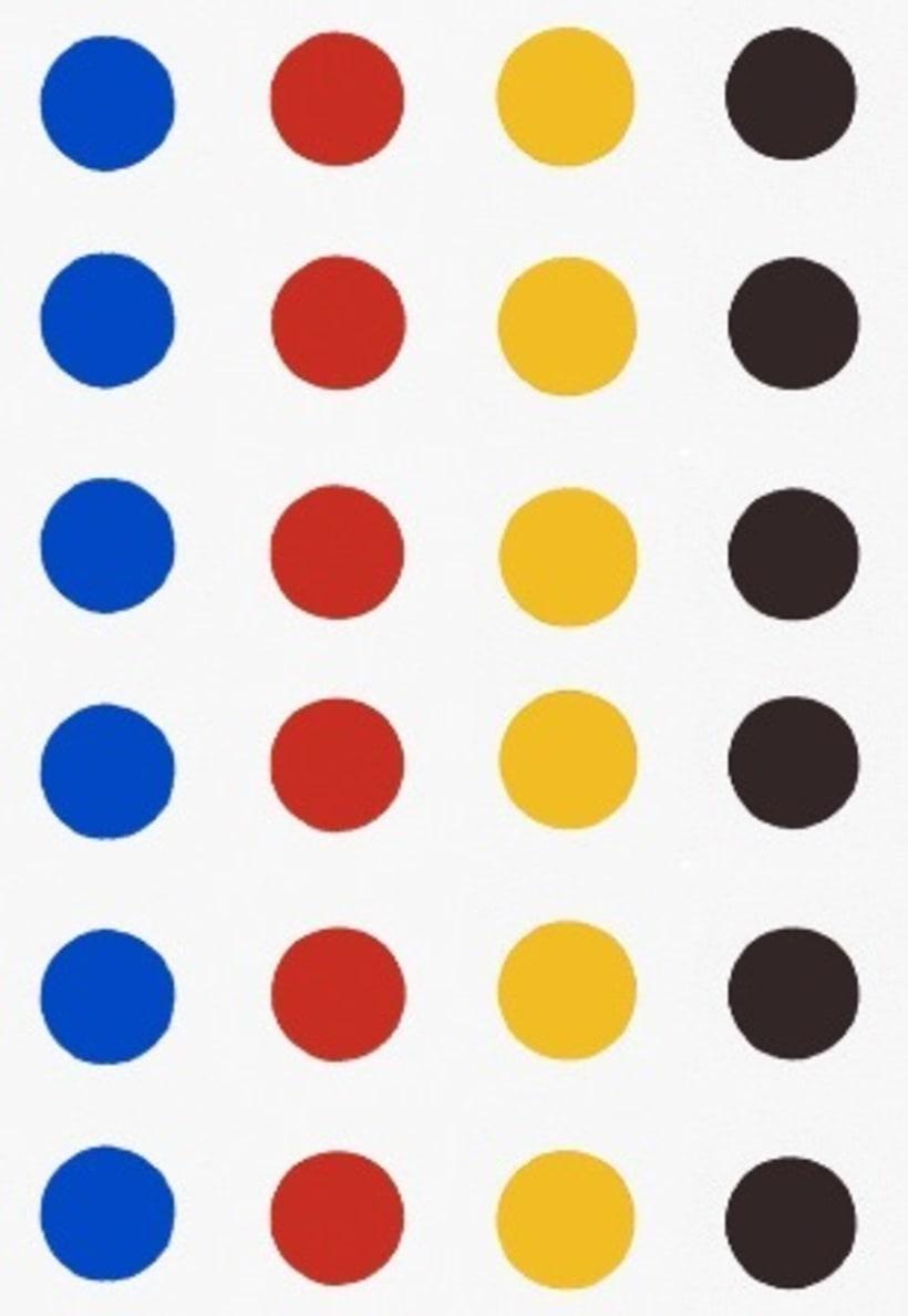 composición -  24 puntos en azul , rojo, amarillo oscuro y  negro 0