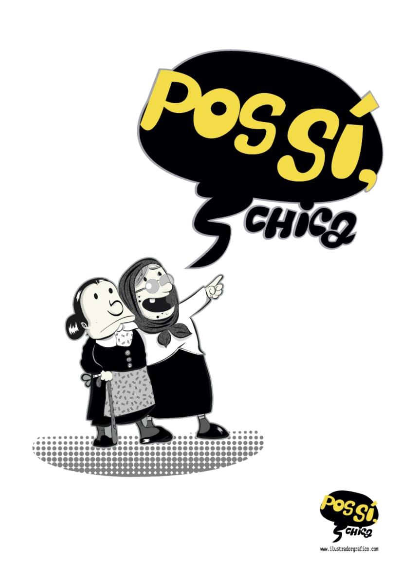 Pos Si ,Chica ( ilustración con mensaje ) 0