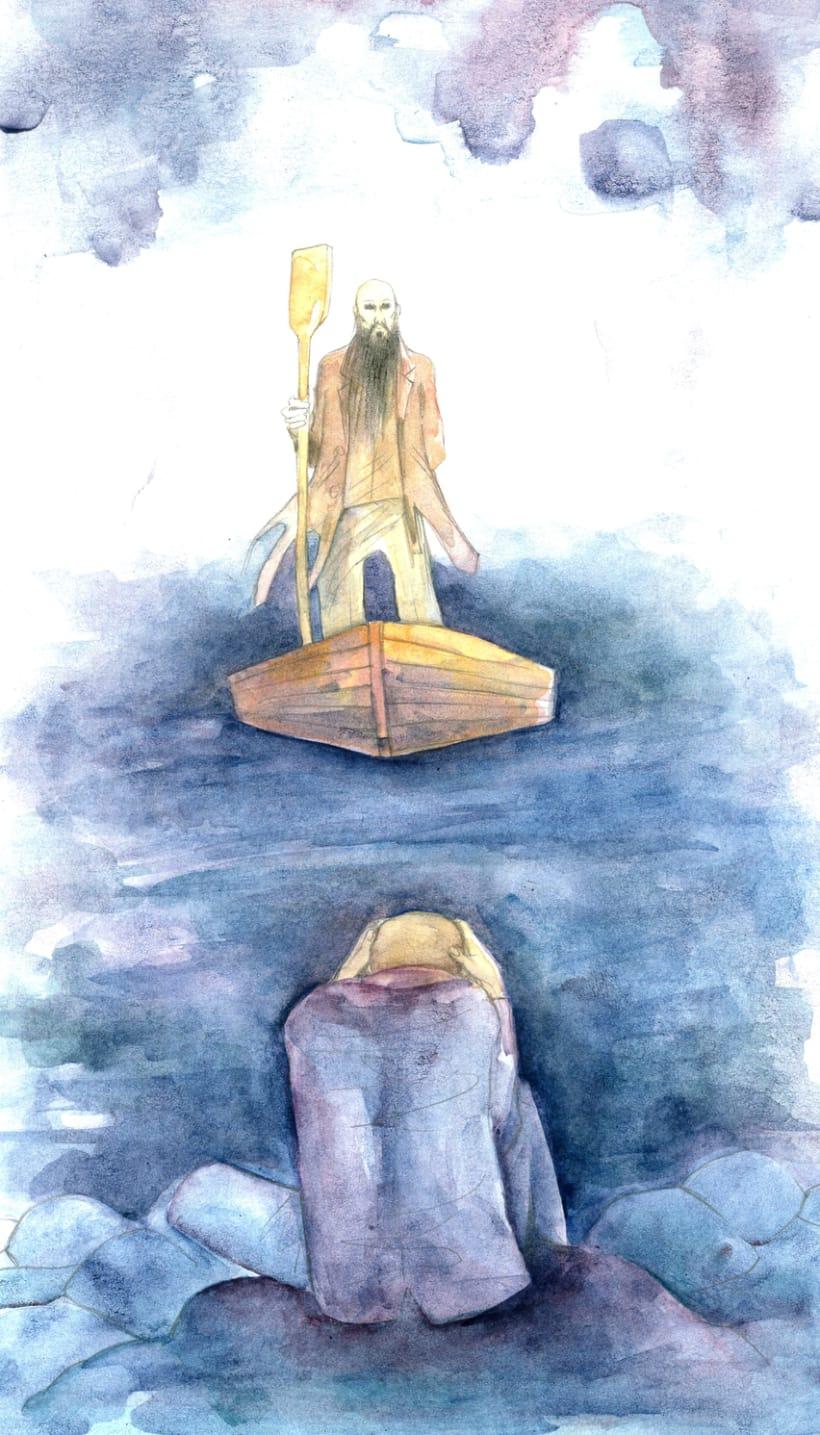 Sobre las aguas. Acuarela -1