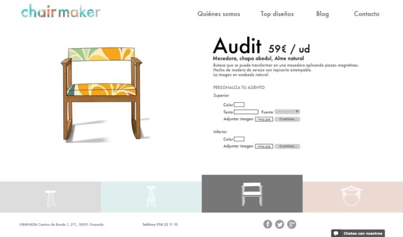 Chairmaker - Personaliza tu asiento: colaboración en el diseño web y la propuesta del modelo de negocio 1