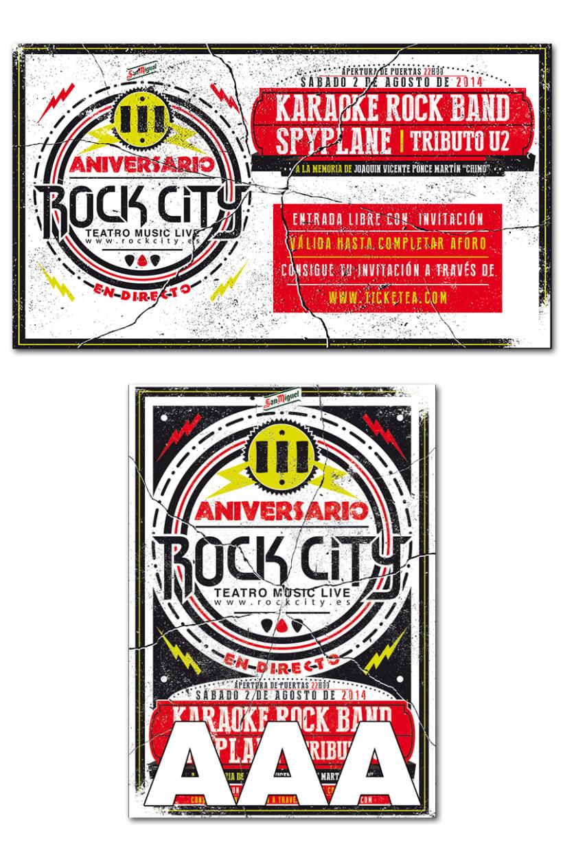 III ANIVERSARIO ROCK CITY | poster + pantallas + pase 1