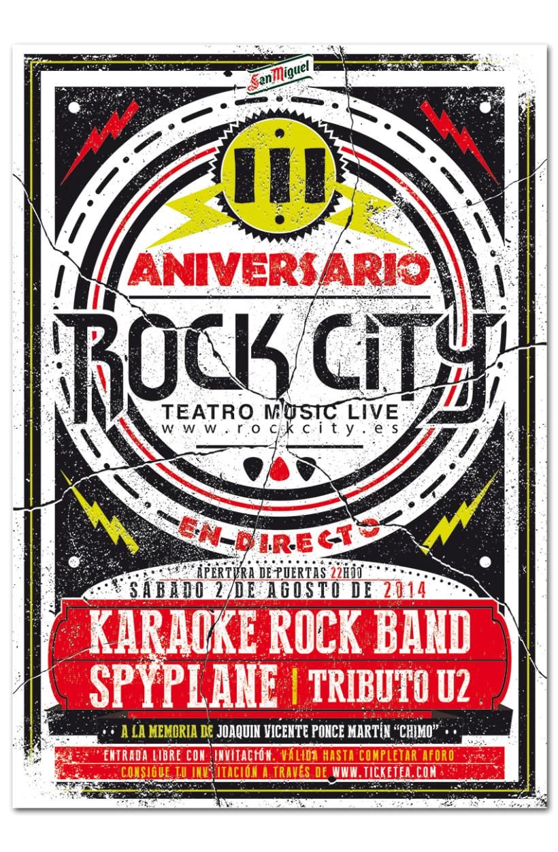 III ANIVERSARIO ROCK CITY | poster + pantallas + pase 0