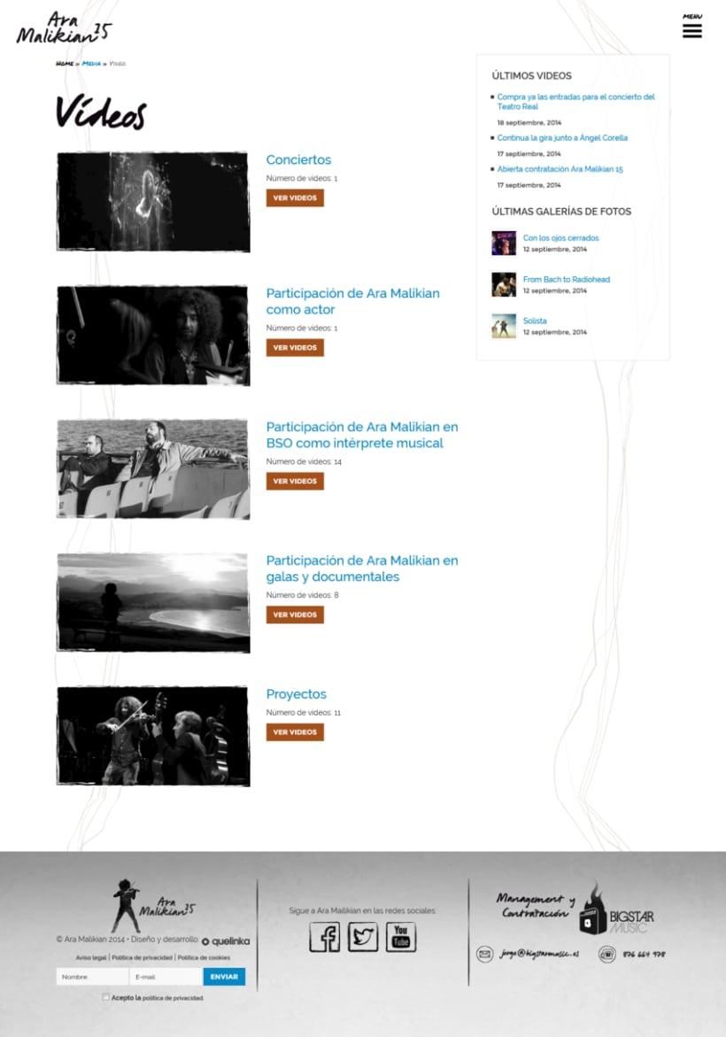 La nueva web de Ara Malikian. Un diseño afinado 2
