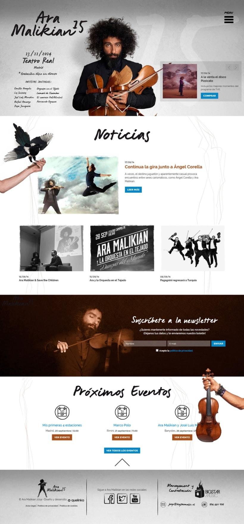La nueva web de Ara Malikian. Un diseño afinado 0