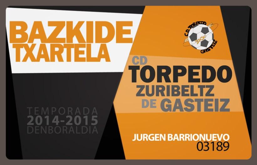 Carnet de Socio/Bazkide Txartela Torpedo Zuribeltz de Gasteiz -1