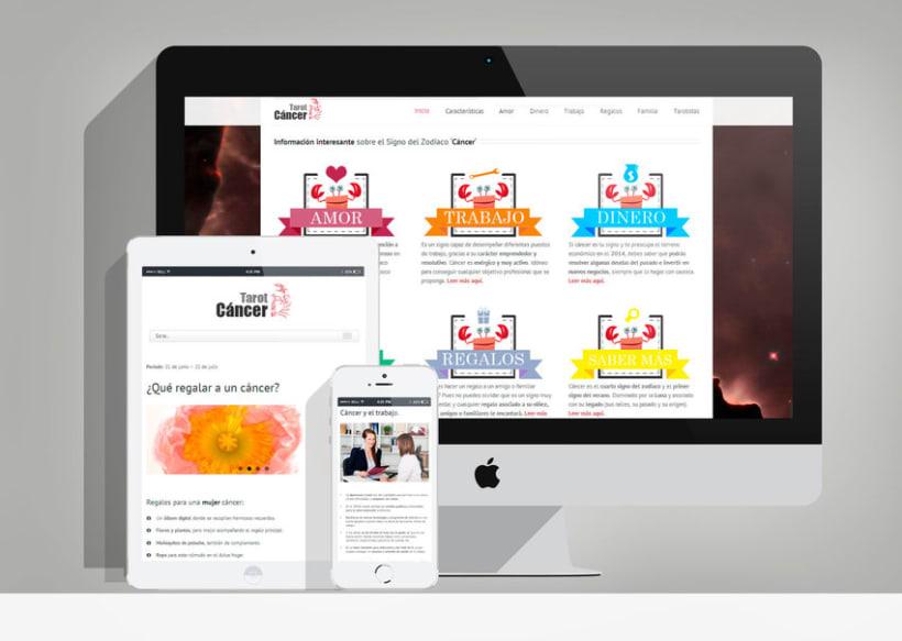 """Diseño y desarrollo web en Wordpress """"Tarot Cáncer"""" 1"""