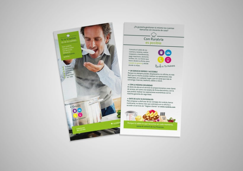 Diseño y maquetación de posters y octavillas para campañas publicitarias de Caja Rural 1