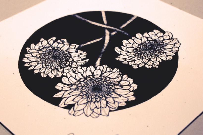 Flores en círculo negro 0