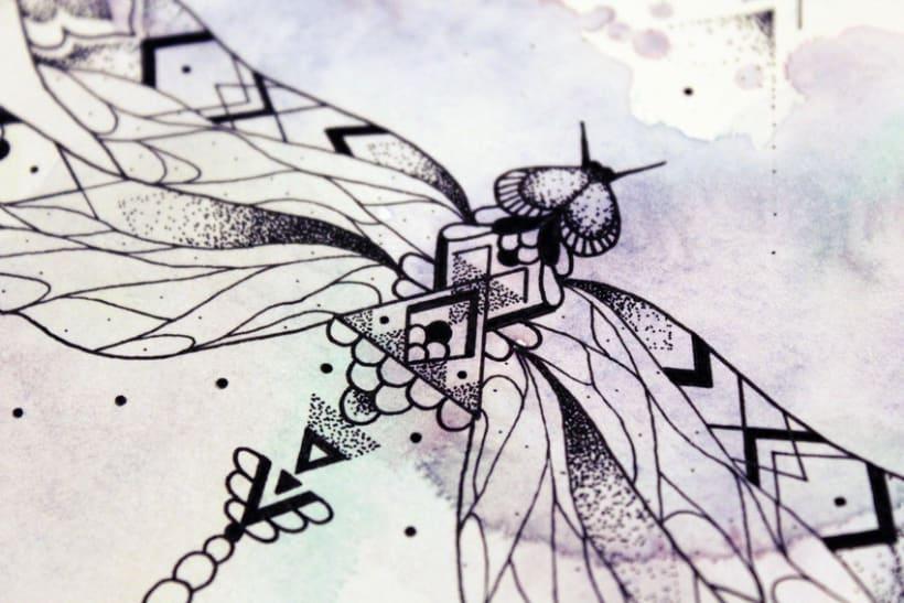 Diseño de mi propio tatuaje: libélula modernista 9