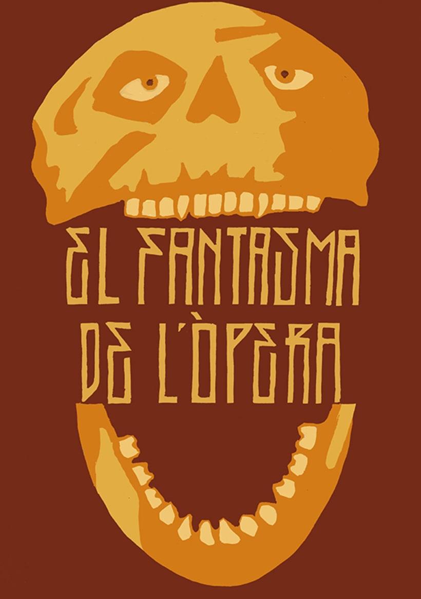 Còmic El fantasma de l'òpera. Anilina i tinta taronja. Monocromàtic. -1