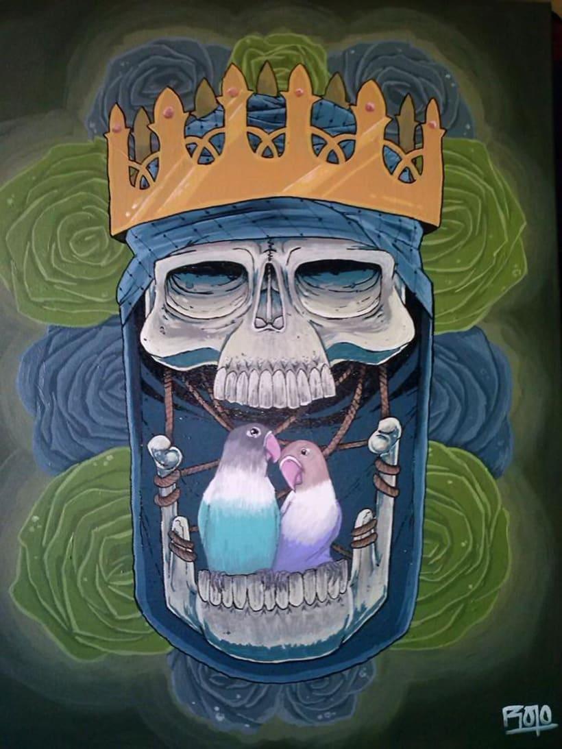 Skull King: Acrilico sobre lienzo. -1