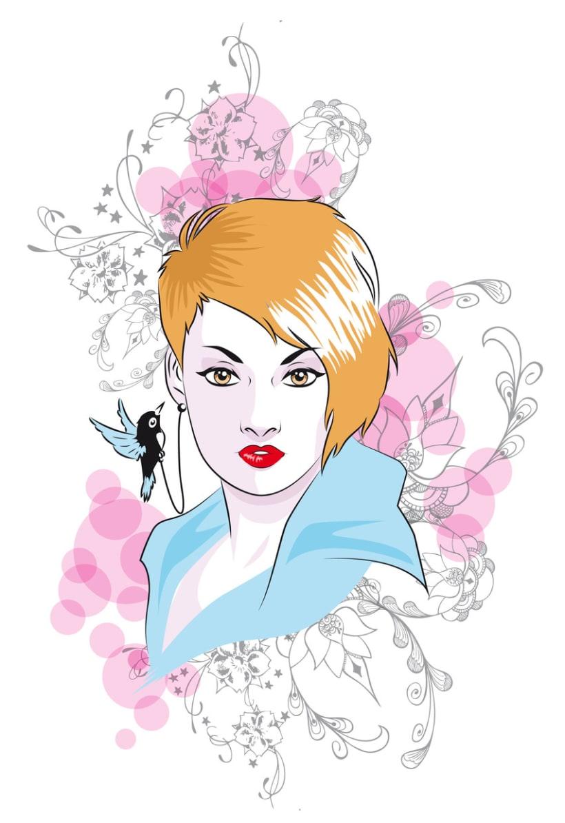 Dibujo chica pelirroja -1