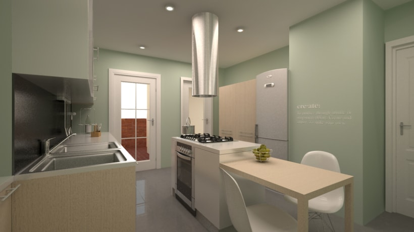 Renders en 3D de una cocina 1