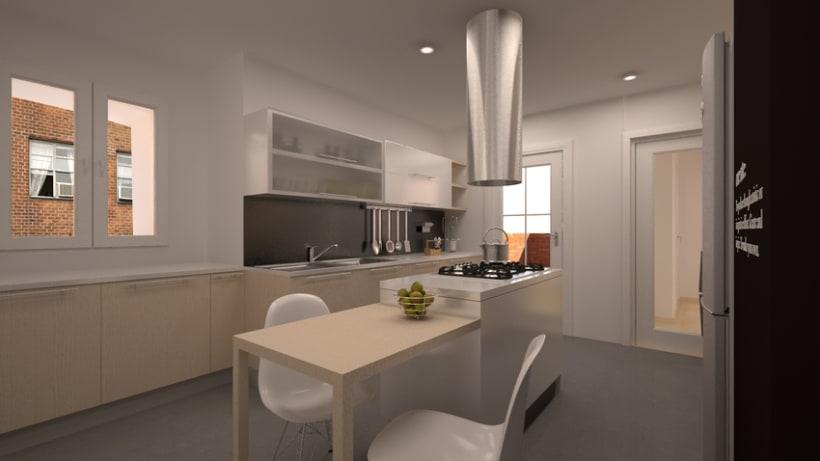 Renders en 3D de una cocina 2