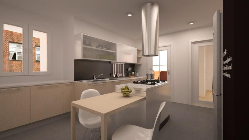 Renders en 3D de una cocina 3