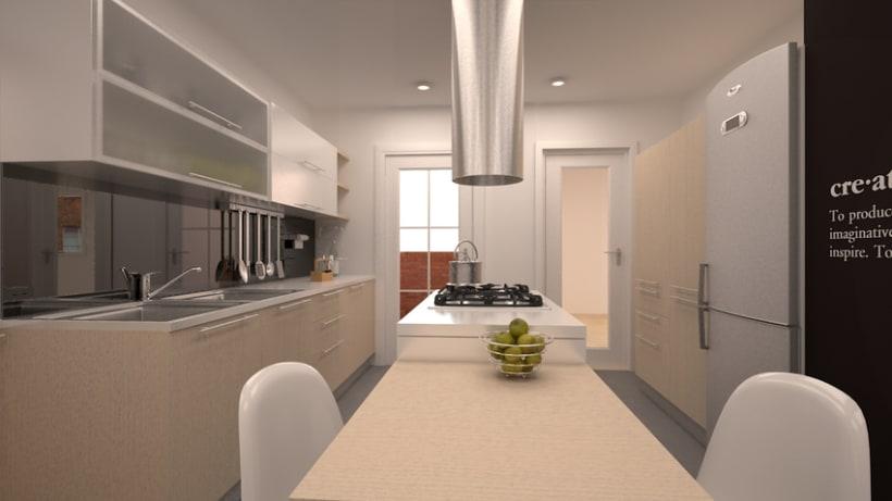 Renders en 3D de una cocina 4