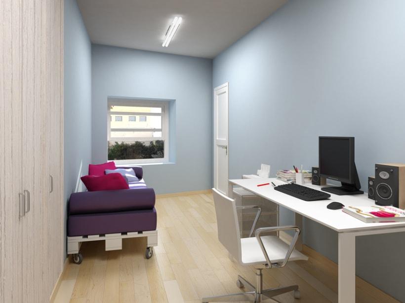 Renders en 3D de una habitación con distintas soluciones de distribución -1