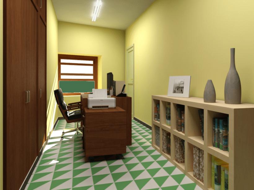 Renders en 3D de una habitación con distintas soluciones de distribución 1