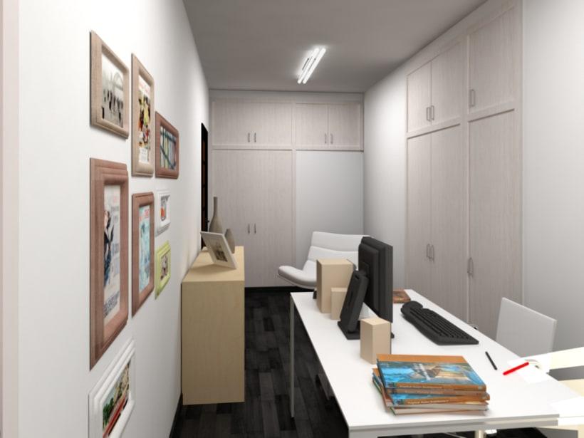 Renders en 3D de una habitación con distintas soluciones de distribución 2
