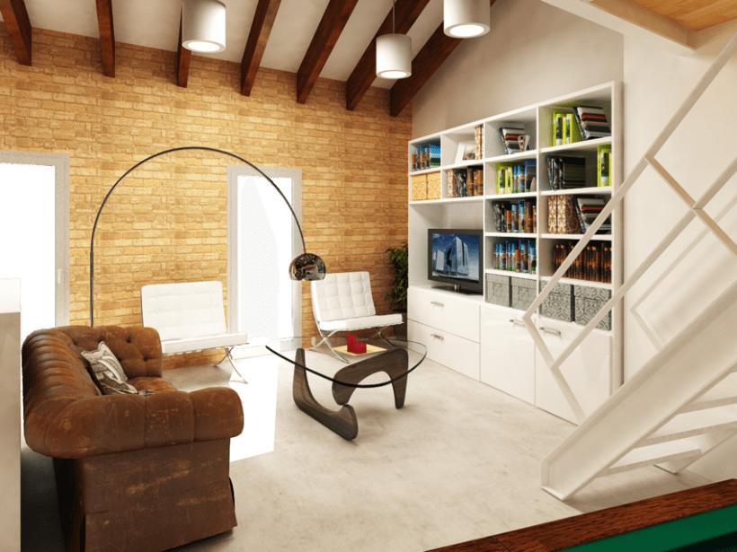 Remodelación y renders en 3D de un loft en un ático. Varias opciones. -1