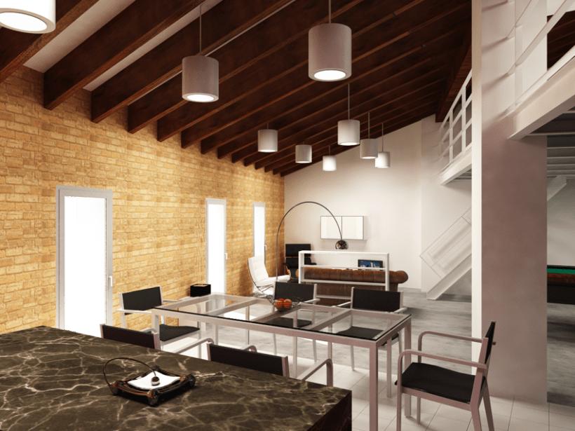 Remodelación y renders en 3D de un loft en un ático. Varias opciones. 0