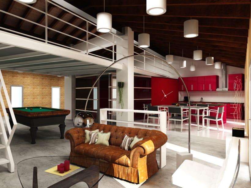 Remodelación y renders en 3D de un loft en un ático. Varias opciones. 1