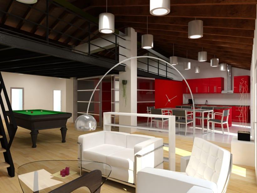 Remodelación y renders en 3D de un loft en un ático. Varias opciones. 2