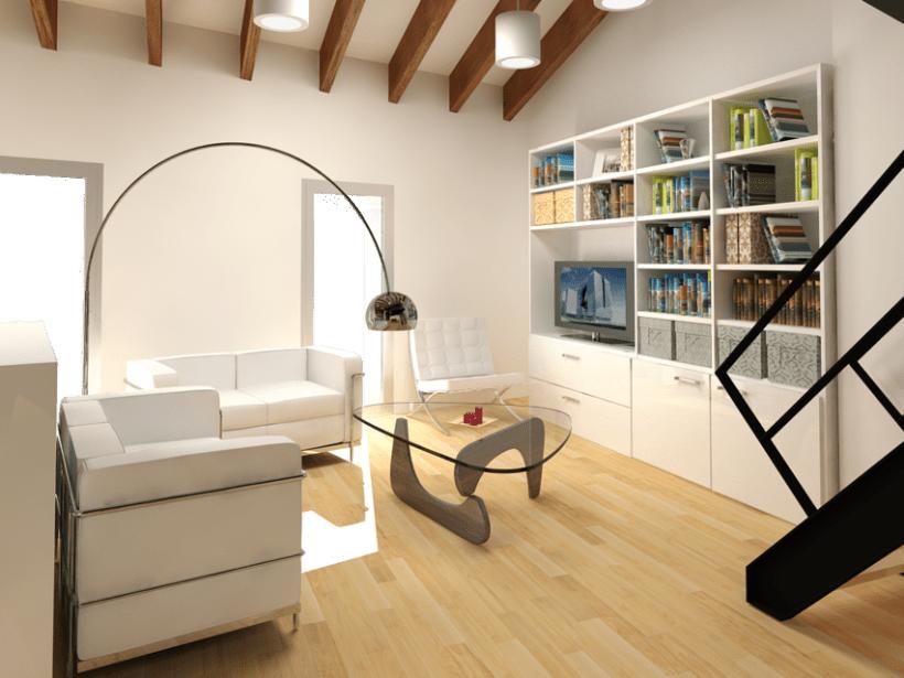 Remodelación y renders en 3D de un loft en un ático. Varias opciones. 3
