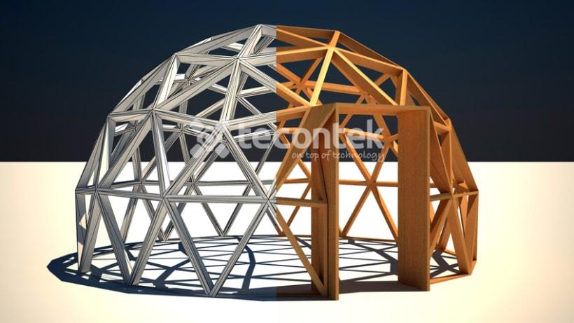Render en 3D de un espacio interior de una cúpula 0