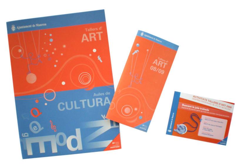 Carpeta, portada díptico y tarjeta Aulas y Talleres Cultura Ay. Manresa -1