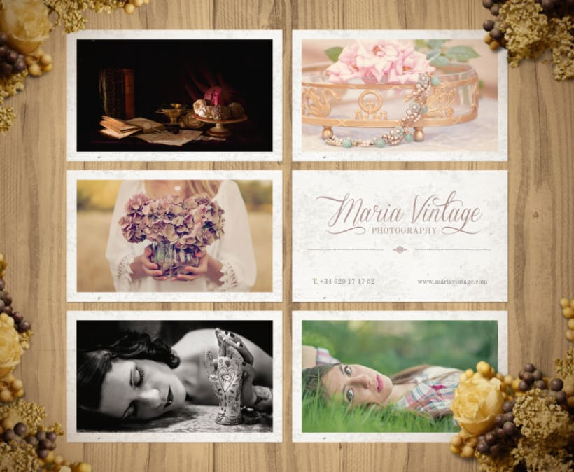 Maria vintage photography business cards domestika maria vintage photography business cards 1 reheart Choice Image