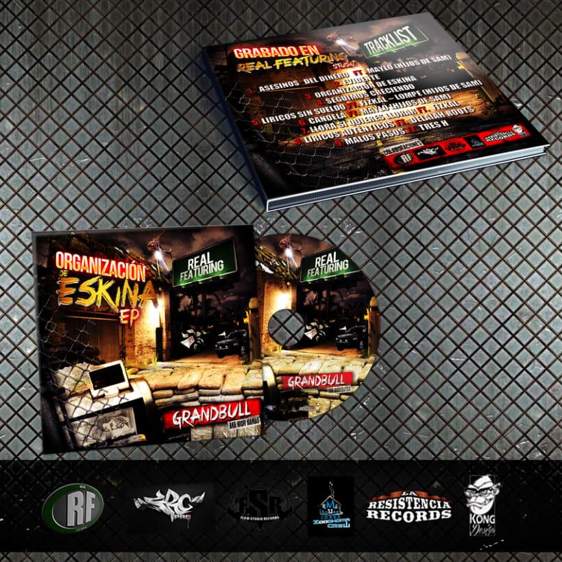 Diseño Grafico CD Organizacion de eskina Grandbull feat RF 1