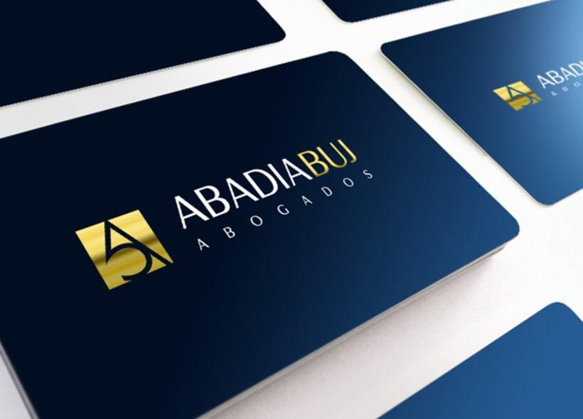 Abadía Buj es un despacho de abogados granadino especializado en derecho de familia, civil, laboral, mercantil, penal, extranjería, etc... Nuestra clienta buscaba una imagen elegante y profesional. -1