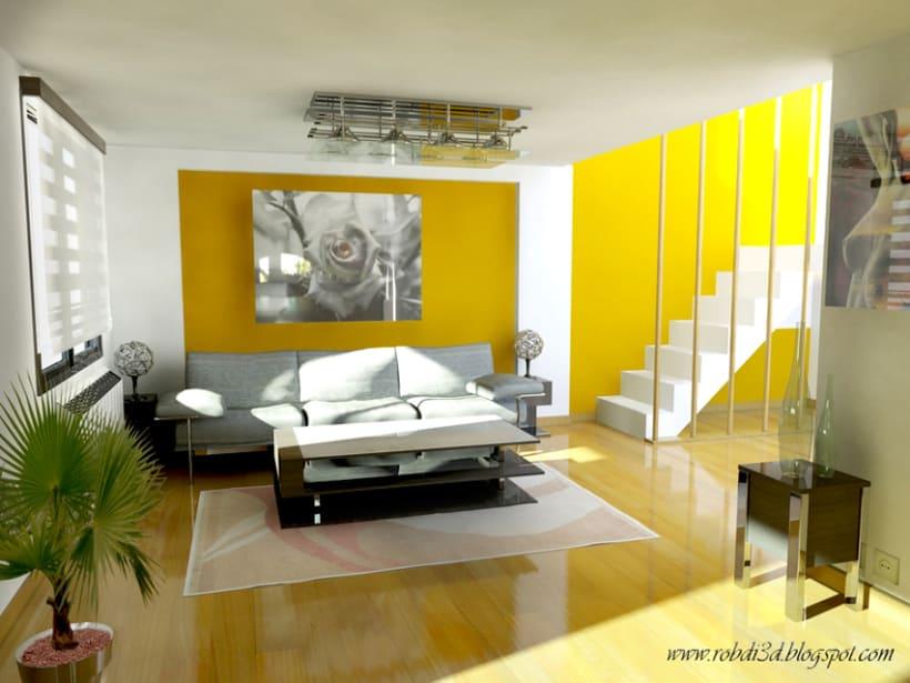 Infografía: Salón, diseño de interiores  1
