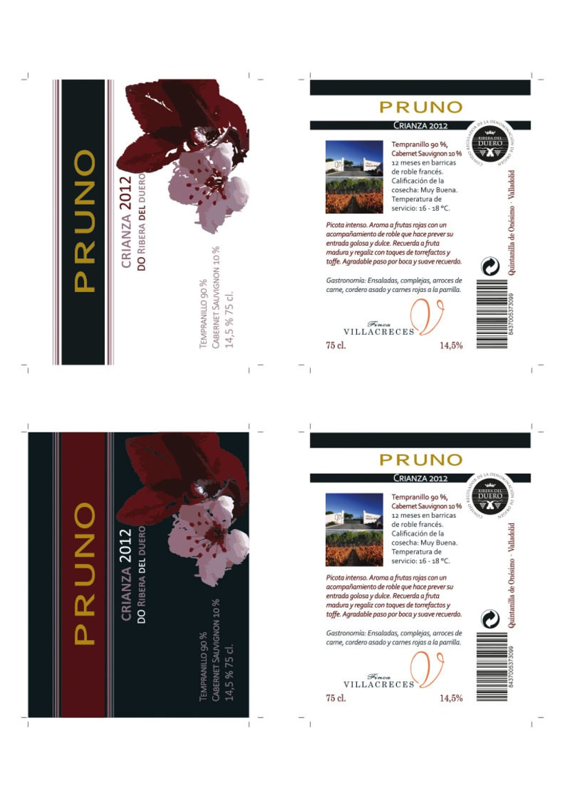 Diseño etiquetas vino Pruno -1