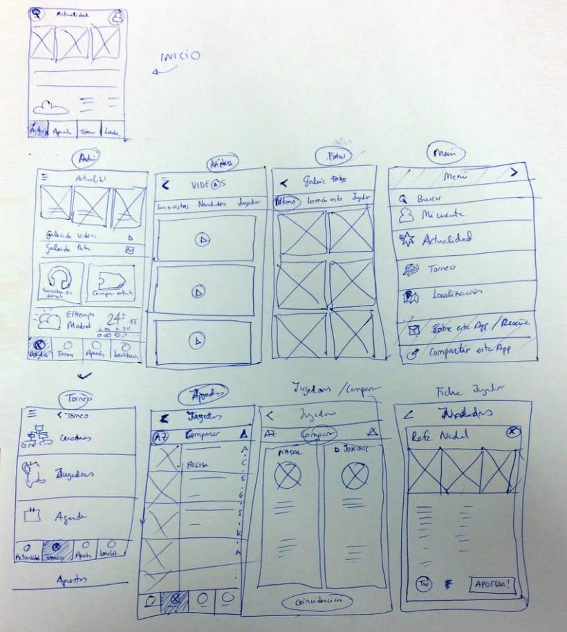 "Wireframes y mockups propuesta diseño app ""Mutua Open Madrid 2015"" 1"