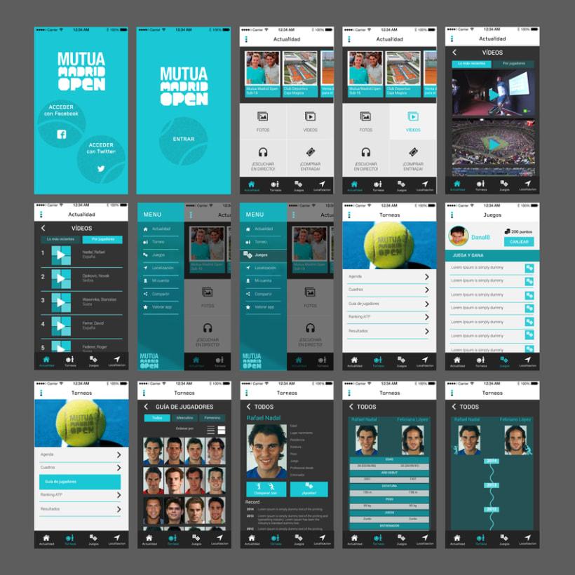 "Wireframes y mockups propuesta diseño app ""Mutua Open Madrid 2015"" 4"