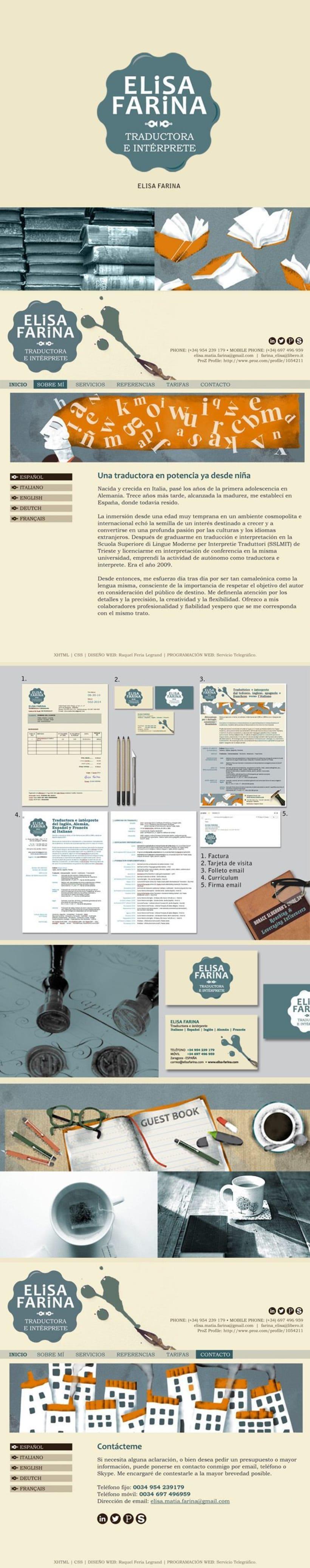 Logotipo, papelería de empresa y diseño web para la traductora e intérprete Elisa Farina 0